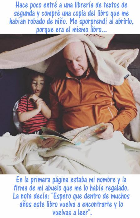 abuelo leyendo un libro a su nieto