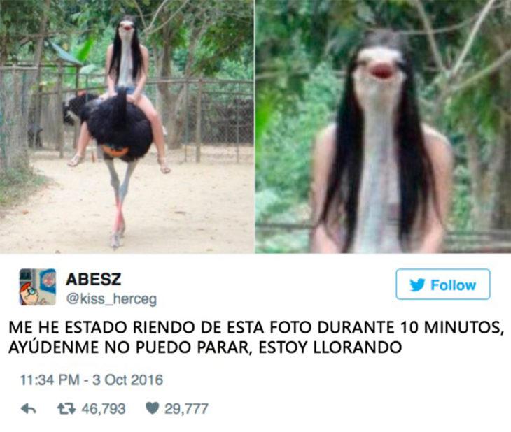 niña cara de avestruz