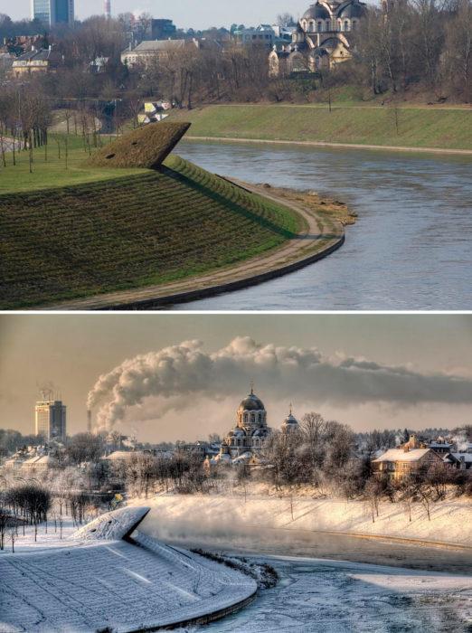 un lago antes y después del invierno