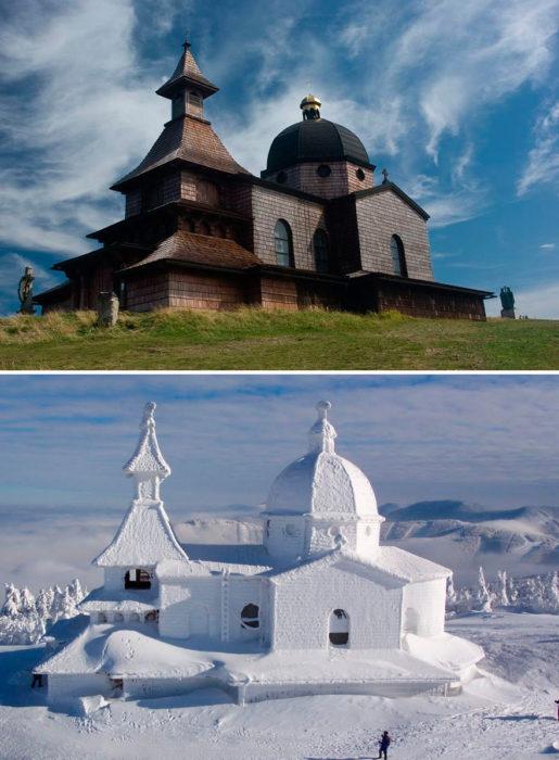 construcción antes y después del invierno