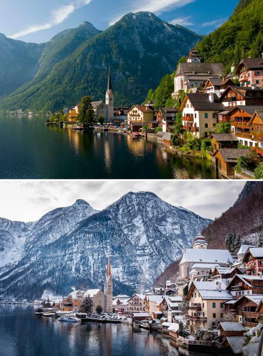 paisaje antes y después de la llegada del invierno