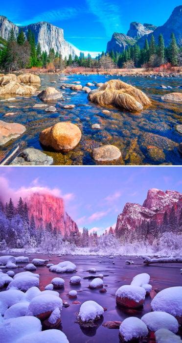 antes y después de la nieve
