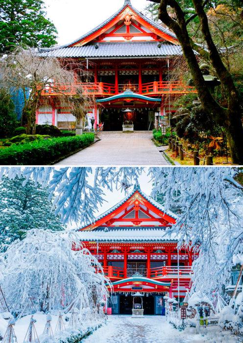 casa china cubierta de nieve