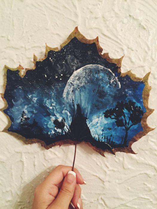 pintura de la luna