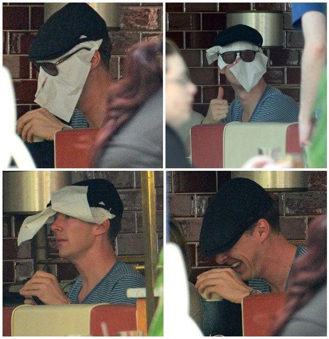 Benedict Cumberbatch esconde su cara en una servilleta