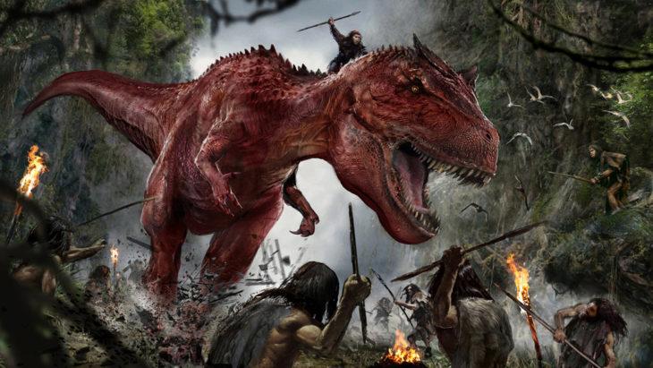 pintura de hombres y dinosaurios