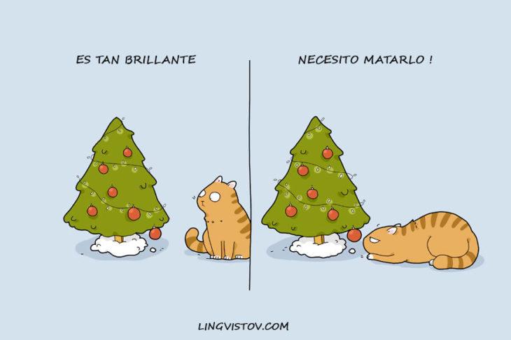 gatos celebrando la navidad