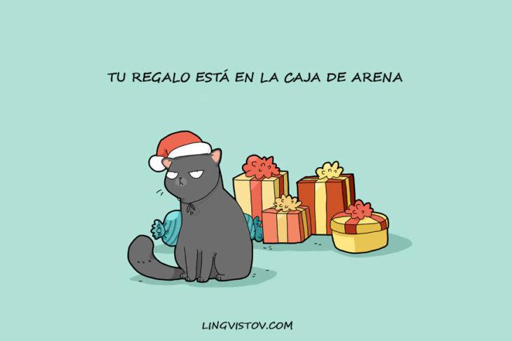 el regalo del gato de navidad para su dueño