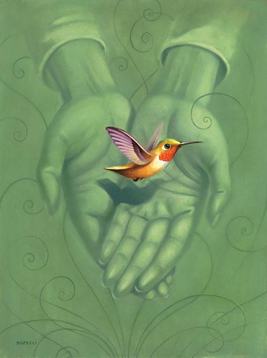 ilustración de un colibrí en manos de personas