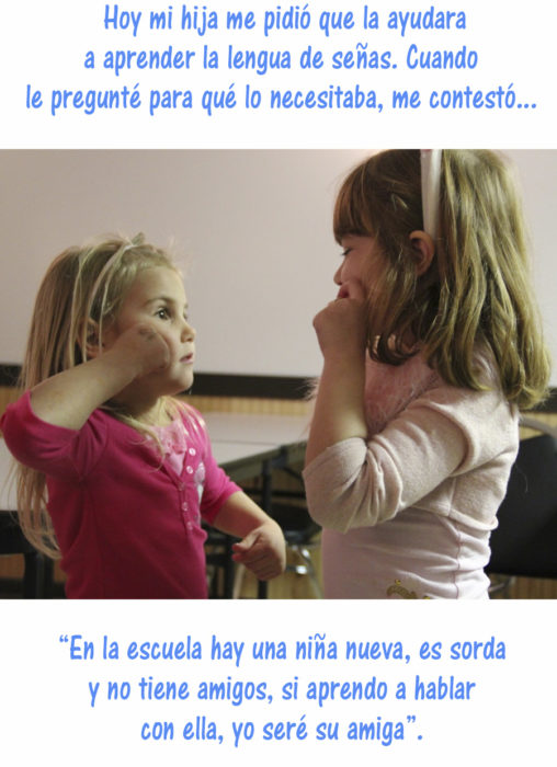 niñas hablando en lenguaje de señas