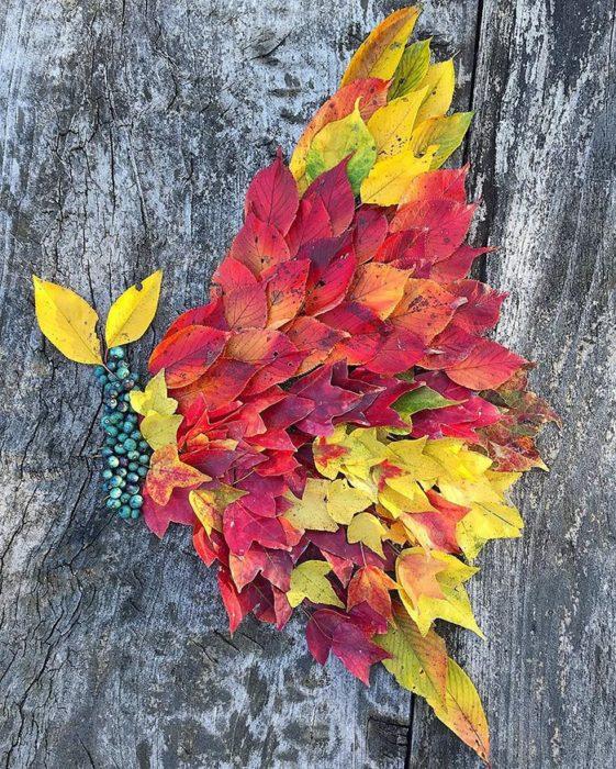 arte japonés con hojas secas