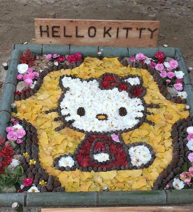 hello kitty hecha con hojas secas