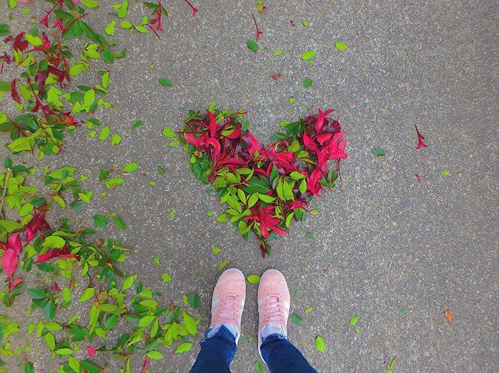 corazón hecho con hojas secas