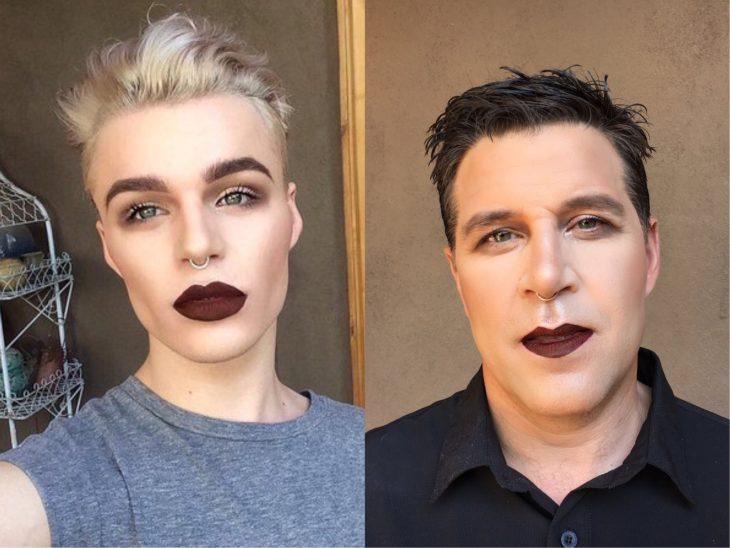 foto de padre e hijo maquillados