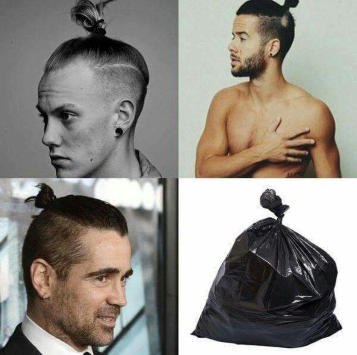 tres hombres peinados con colita y bolsa de basura