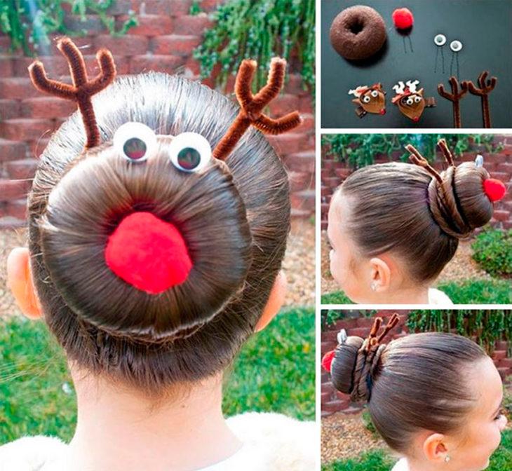 peinado navideño en forma de rodolfo el reno