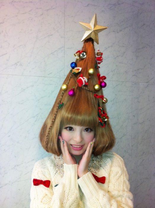 peinado en forma de árbol de navidad