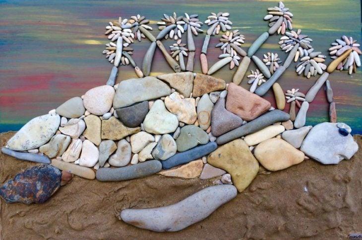 tortuga hecha de piedras de playa