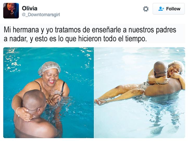 pareja d ela mediana edad bañandose