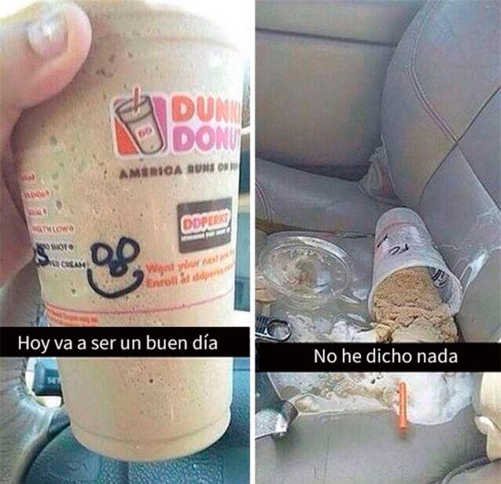 café tirado en el asiento