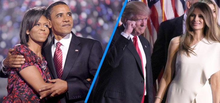 barack y michelle versus trump y melania celebrando victorias