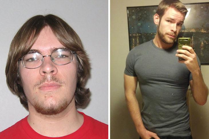 chico con lentes antes y después de la pubertad