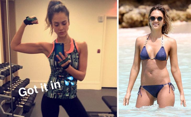 Jessica Alba foto haciendo ejercicio, foto en bikini