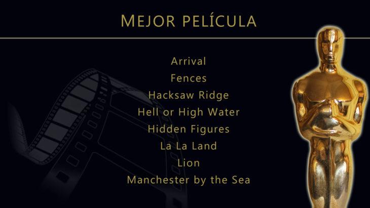 Oscares 2017 - lista de peliculas nominadas para mejor pelicula