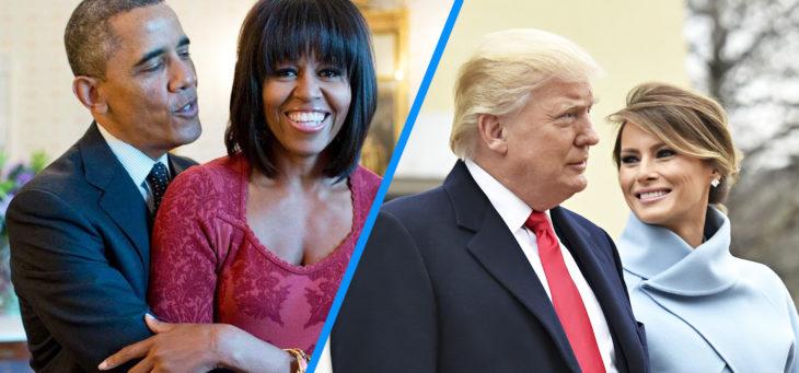 barack y michelle versus trump y melania sonriendo