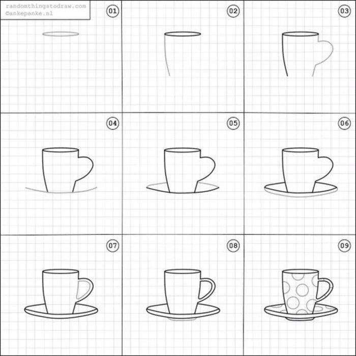 como dibujar tazas de cafe
