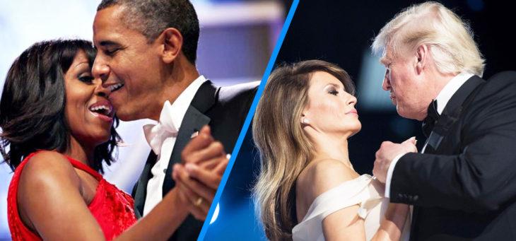 barack y michelle versus trump y melania en el baile presidencial