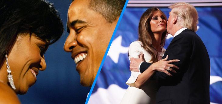 barack y michelle versus trump y melania enamorados