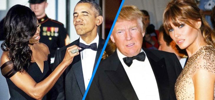 michelle arregla la corbata de obama versus trump y melania