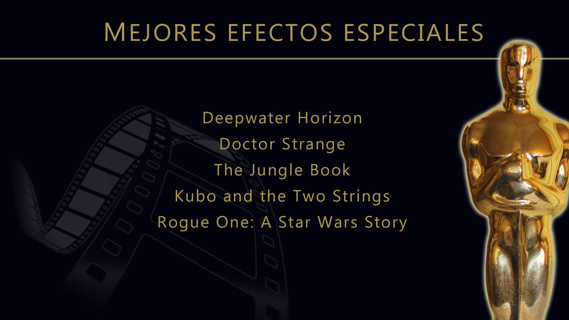 Resultado de imagen de nominaciones oscars mejores efectos especiales 2017