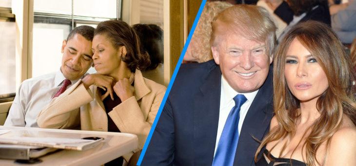 barack y michelle versus trump y melania juntando cabezas