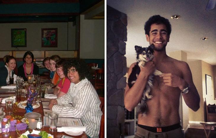 izquierda chico con sus amigos derecha chico años después sin camisa carga un cachorro