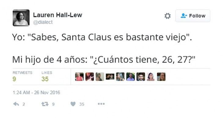 tuit gracioso sobre la edad de santa claus
