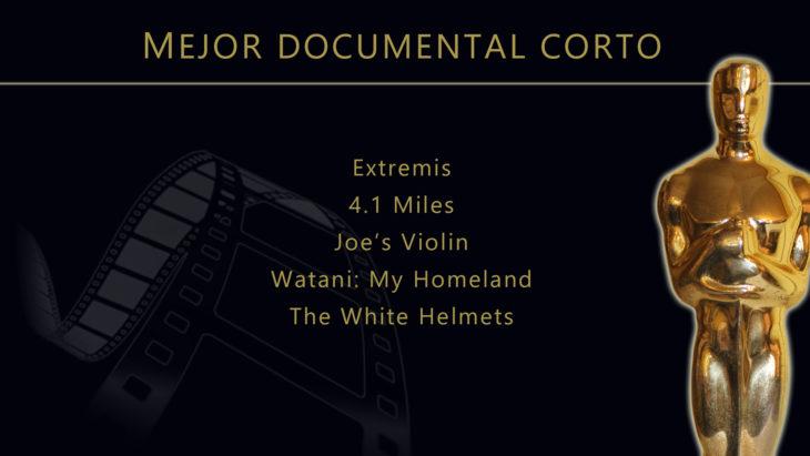 Oscares 2017 - lista de peliculas nominadas para mejor documental corto