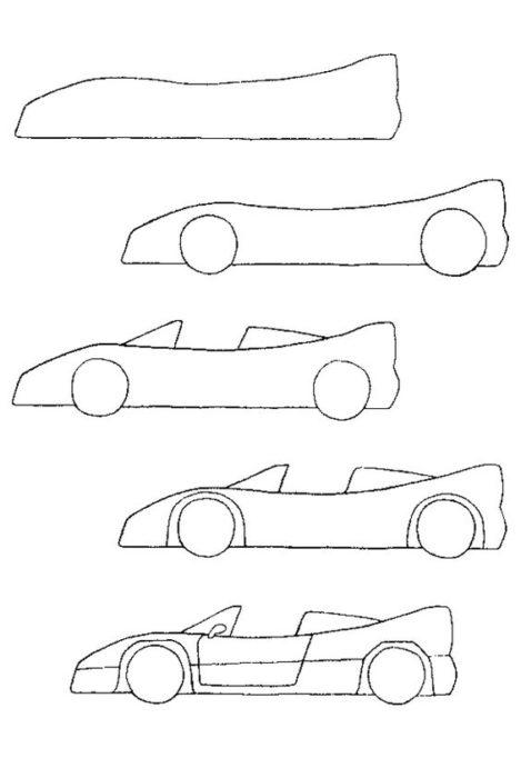 dibujar auto de carreras