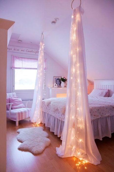 20 tips remodelar recamara cortinas con luz