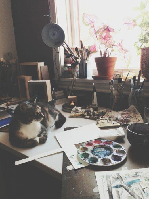 pintura y gato