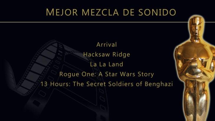 Oscares 2017 - lista de peliculas nominadas para mejor mezcla de sonido