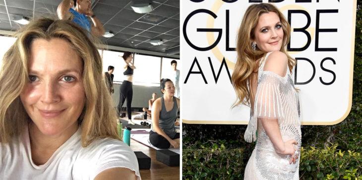 Drew Barrymore en yoga y en los golden globes
