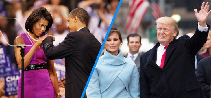 barack y michelle chocan sus puños versus trump y melania en el primer día de su mandato