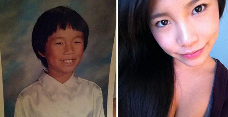 chica asiática antes y después de la pubertad