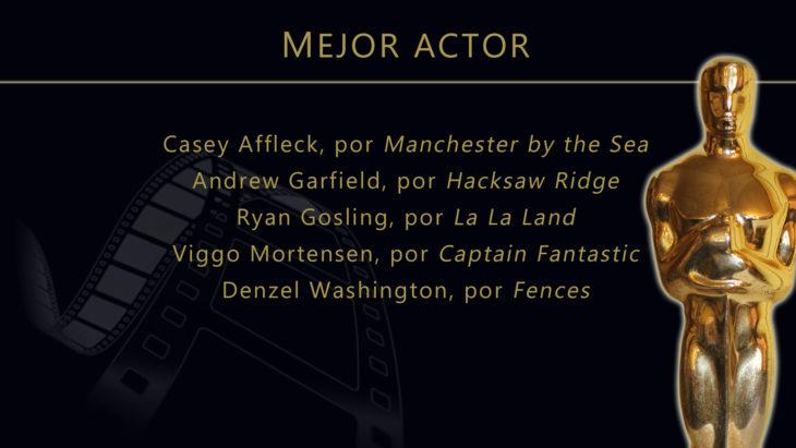 Oscares 2017 - lista de peliculas nominadas para mejor actor