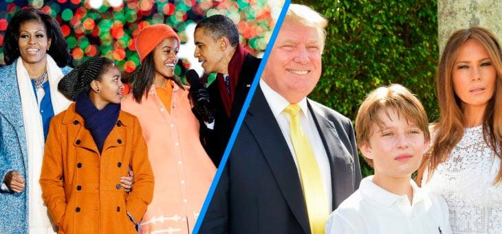 comparación entre la familia obama y la familia trump