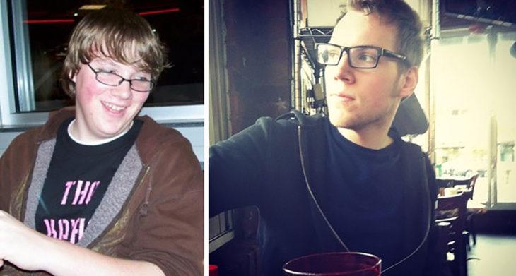 muchacho rubio antes y después de la pubertad
