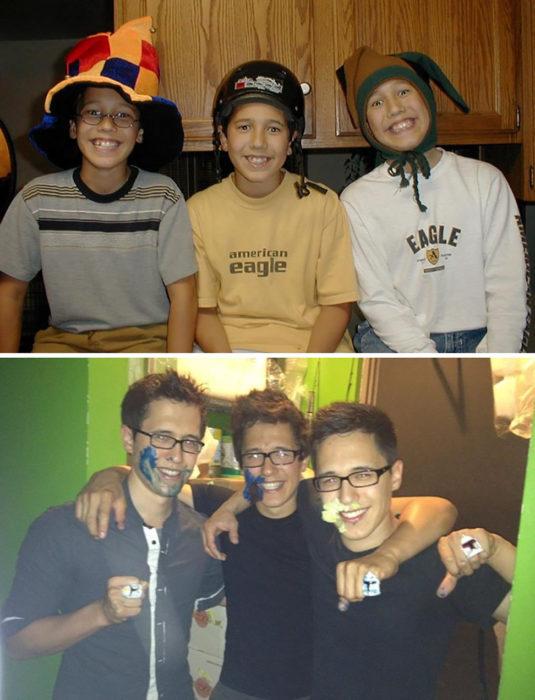 tres amigos antes y después de la pubertad