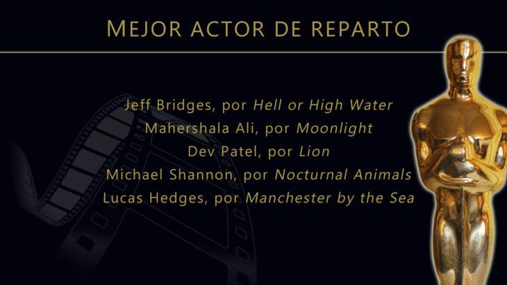 Oscares 2017 - lista de peliculas nominadas para mejor actor de reparto